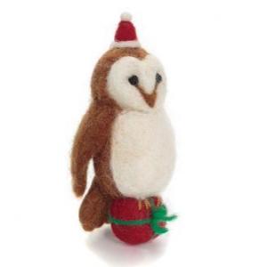 Felt Brown owl with parcel