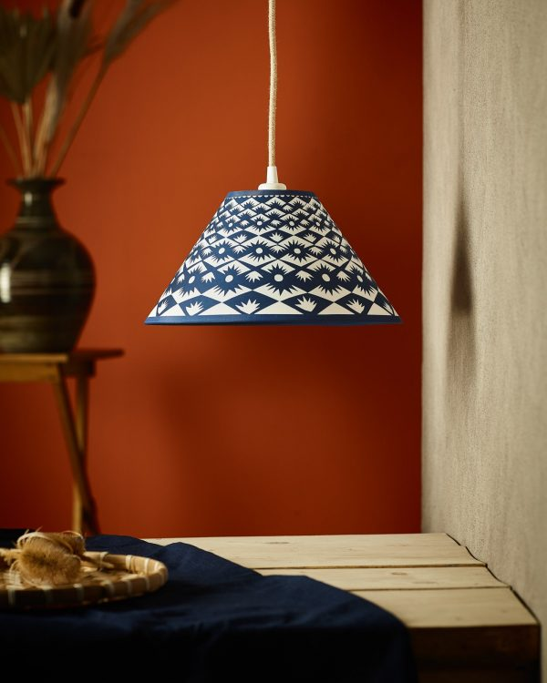 """Claire_Cartwright_Tuft_12""""_Cyanotype_Lampshade"""