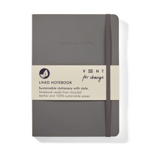 Recycled Leather A5 lined notebook - Elephant Grey - Front Wrapped