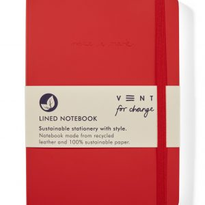 Recycled Leather A5 lined notebook - Red Front Wrapped