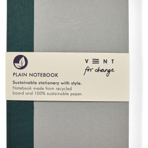 Recycled Board A5 Write Plain Notebook – Green fabric spine