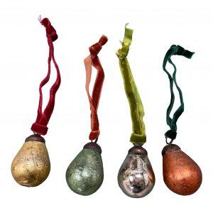 Glass Pear Decoration small coloured